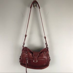 Francesco Biasia oxblood red leather crossbody bag